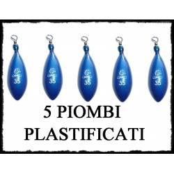 5 Piombi da Pesca Plastificati con Girella