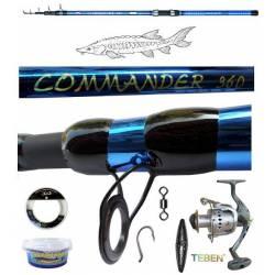 kit pesca allo storione canna + mulinello + ami + filo + piombo + girelle + pastella