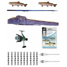 kit trota lago canna genetic 12/16g + mulinello sword + accessori