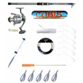 kit pesca serra canna mulinello puntale filo elastico 6 cavetti acciaio con ami filo 200mt 0.40mm ago innesco 5 piombi 100g