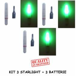 Kit 3 Starlight con led elettronici per galleggiante da pesca