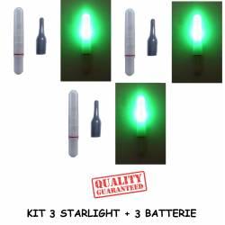 Kit 3 Starlight con led elettronici per galleggiante da pesca