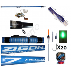Kit Pesca Canna Bolognese Agon 7Mt + Mulinello + Fodero + Accessori