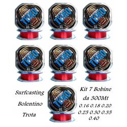 Stock 7 Bobine Filo da Pesca Bolentino Surfcasting Trota - Teiko 300Mt