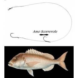 Lenza Terminale Acciaio Doppio Amo Scorrevole Pesca Dentice Serra