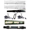 Kit 2 Canne Carpfishing 3 sezioni + Mulinelli / Globe Fishing Carp King Niged