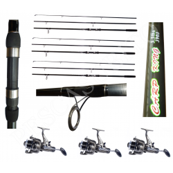Kit 3 Canne Carpfishing 3 sezioni + Mulinelli / Globe Fishing Carp King Niged