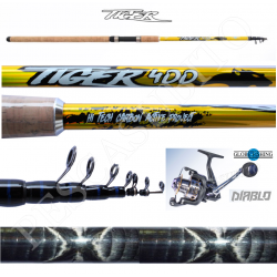 Kit Canna Pesca Inglese Bombarda + Mulinello - Globe Fishing Tiger Diablo