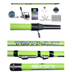 Kit Trota Torrente Canna Teleregolabile Tethys 5Mt + Mulinello + Accessori