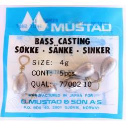 5 Piombi Pesca Drop Shot 4Gr - Mustad