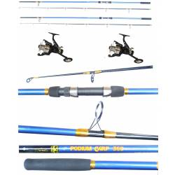 Kit 2 Canne Carpfishing + Mulinelli / Globe Fishing Podium Carson Flash Runner