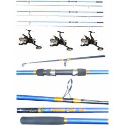 Kit 3 Canne Carpfishing + Mulinelli / Globe Fishing Podium Carson Flash Runner